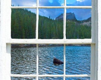 Wall mural window, self adhesive, Colorado open window view-2 sizes available-Bear Lake, RMNP, CO, View- free US shipping