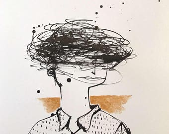 MMXVII: When I'm Confused  ~ Original Ink Drawing with Gold Acrylic Embellishment on A3 Paper