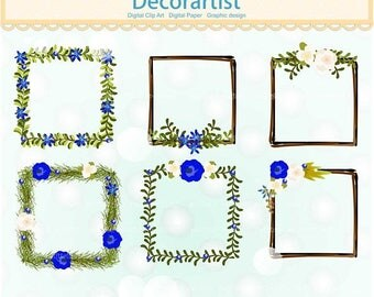 ON SALE Square blue flowers Frame clip art, Whimsical Wreaths Clip Art .,Floral square wreath decoration,blue Birthday frame clip art, print