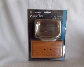 Vintage NOS Permabilt Royal Oak Soap Holder Solid Oak Antique Brass Soap Dish