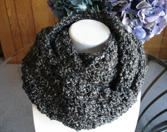 Gray Cowl Scarf, Infinity Scarf, Crocheted Scarf, Winter Scarf