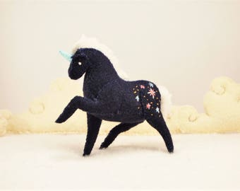 Miniature Stuffed Unicorn - Midnight Sparkle - Tiny embroidered Felt Stuffed Animal
