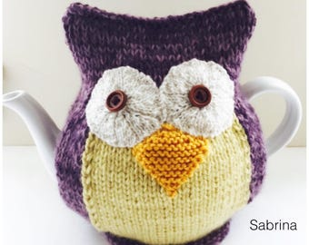 Sabrina - Hand-knitted Owl Tea Cosy - in Pure Wool and Mohair mix -  fits medium 6-cup teapots