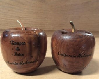 Sale Wood Apple Recipe Holder and Toothpick Holder