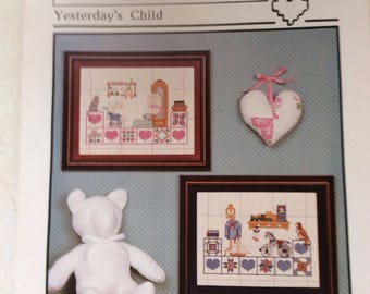 Yesterday's Child, Counted Cross Stitch Patterns by Heartstrings, Childrens Samplers, Boy, Girl, Nursery Decor