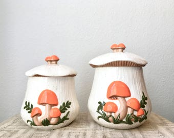 Vintage Mushroom Canisters by Arnels, Set of Two