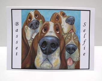 Basset Selfie Basset Hound  4 Greeting Cards