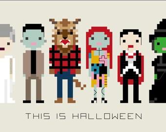 Pattern - This is Halloween Spooky Pixel Cross Stitch Pattern PDF