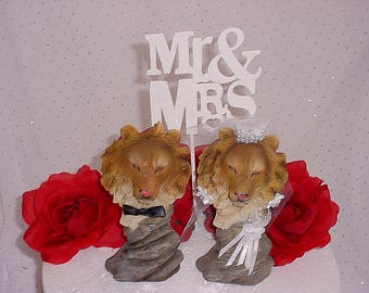 Lion Wedding Cake Topper-Hunter Groom's Cake Topper- Woodsy Woodland Animals Topper- Rustic Decorations - Jungle Lions-Circus Themed-W1