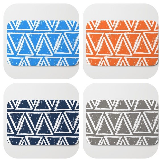 Bath Mat - Navy blue Bath Mat - Orange Bath Mat - Bath Rug - Warm Gray Shower Mat - Triangle Rug - Grey Rug - Blue Memory Foam Mat