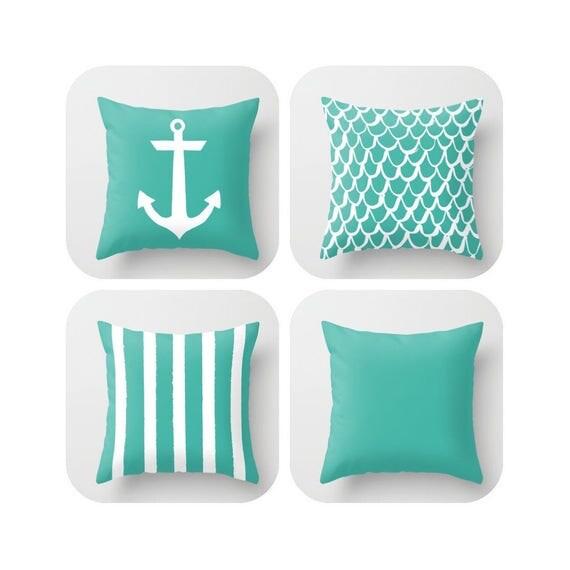 OUTDOOR Throw Pillow . Turquoise Mermaid Pillow . Coastal Patio Cushion . Anchor Pillow . Stripe Pillow . 16 18 20 inch . Lumbar Pillow