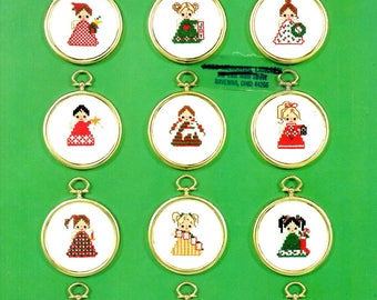 Christmas Angels Doll House Hearts Wreath Star Lamb Candle Stocking Tree Teddy Bear Counted Cross Stitch Embroidery Craft Pattern Leaflet