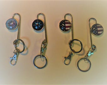 Key Finder with Keyring Metal with Handmade Round Photo Glass for Your Purse or Bag or Pocket, KF9, KF7, KF5, KF4