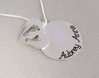 Baby Feet Double Pendant | Engraved Mom Disc Necklace | Mom Necklace with Kids Names | Hand Stamped Like Mom Necklace | Gift for Mom Grandma