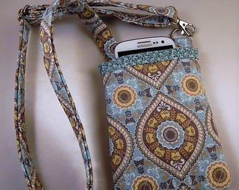 Open Top Pocket Easy Reach Cell Phone Aqua Yellow Quilted  Lanyard Wallet Organizer Tote