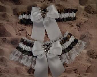 Camo Camouflage Hunting Satin Olive Green White Satin White lace Deer Charm Wedding Bridal Garter Toss Set