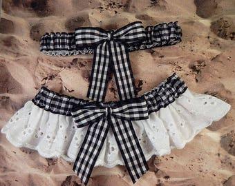 Black Gingham White Eyelet Lace Outdoor Country Barn Wedding Garter Toss Set