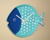Navy Blue Turquoise Fish Wall Clock, Bathroom Clock, Kitchen Clock, Nursery Decor, Unique Wall Clock, Turquoise Home Decor - 2381