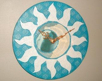 Turquoise Sun and Moon Wall Clock, Celestial Clock, Moon and Sun Wall Decor, Unique Wall Clock, Clock for Dorm Room, Moon Clock - 2473
