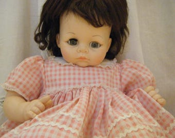 Vintage Madame Alexander Doll 1965 Pussy Cat Original Pink Gingham Clothes Squeaker Works Cries Needs TLC Large Baby Doll Real Clothes
