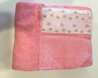 Baby hooded towel, baby bath towel, hooded infant toddler towel, pink hooded baby towel, hooded bath towel, hooded bath towel infant +