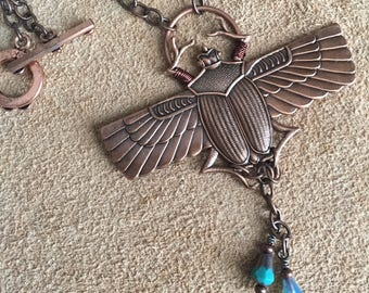 Copper Egyptian Scarab Necklace with copper capped fire finished glass beads on copper chain