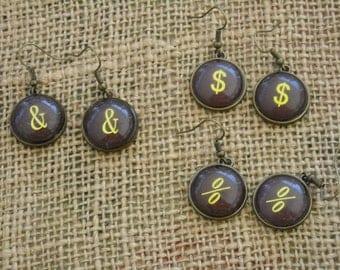 Steampunk Earrings - Typewriter Keys  - Typewriter Earrings -  Steampunk Jewelry - Free Shipping - Typewriter Jewelry