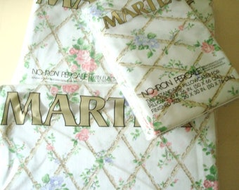 Martex Trellis twin sheets & pillowcases, vintage Marshall Field's printed sheet set, new in package, vintage fabric, pink and blue flowers