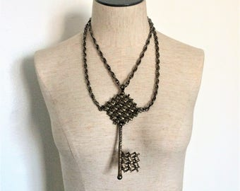 Brutalist Huge Key Statement Necklace - Antiqued Brass - Mark Dottenheim - 1950s
