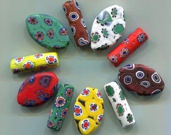 VENETIAN  Murano Matte Millefiori Tube & Pendant Matching Beads, Vintage, Evil Eye Beads B1450.B1616*