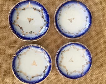 Set of 4 Butter Pats Flow Blue White Transferware with Gold Trim  Transfer ware China Fine China Butter Pat Trinket Dish #2