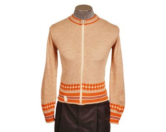 Vintage 1970s Zip-Up Diamond Striped Cardigan Sweater - Orange and Brown and Maroon - NOS