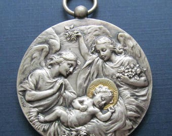 Jesus And Angels Antique French Religious Medal Virgin Mary Lourdes Pendant By Sylvain Kinsburger  SS04