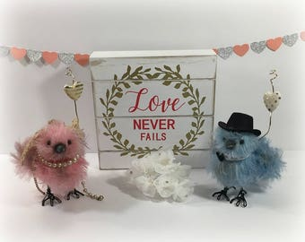 Love Birds, wedding cake toppers, unique cake toppers, handmade cake topper, custom cake topper, Mr and Mrs