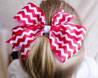 Hair Bow - Red Chevron Print Pinwheel Hairbow