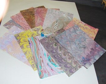 pack 12, hand  marbled paper,, マーブル紙,   scrapbook paper -  cm 25 x 17,5  -  6004