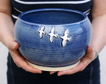 Handmade stoneware bowl - wheel thrown bowl in ocean blue with birds in flight