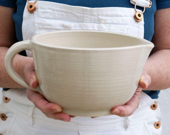 Large ceramic stoneware batter bowl - hand thrown glazed in simply clay
