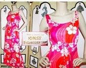 SALE 60's Day Glow Hawaiian Barkcloth Dress from Kimo's Polynesian Shop in Orange and Pink. XS-Small.