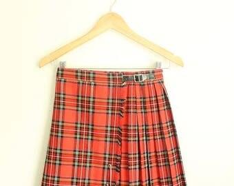 SUMMER SALE Pleated Mini Skirt, Plaid Short Skirt, Red Kilt, Schoolgirl, Short Kilt, Mini Kilt, Plaid Mini Skirt, Grunge Skirt, Pleated Skir
