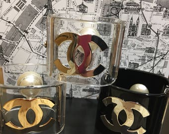Chanel Cuff Bracelet CC logo black clear with silver or gold hardware