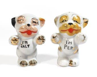 Vintage I'm Salt, I'm Pep Ceramic Salt and Pepper Shakers - Japan