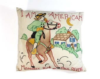 Vintage Needlepoint Throw Pillow - I Am American Midnight Ride of Paul Revere