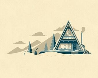 Cascade Art Print (A-frame Winter Cabin)