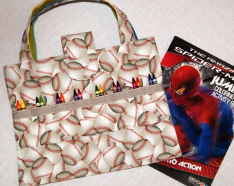 Kid's Coloring Bag - Baseballs - Art Supplies Organizer - Travel Tote for Child - Coloring Book and Crayon Tote - Arts and Crafts Bag