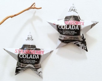 Strawberry Colada Premium 10 Cocktail Aluminum Can Stars, Clubtails, Christmas Ornament, Gift Topper, Package Tie On