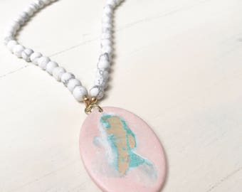 Painted Pendant Necklace - White Howlite Beaded Necklace with Acrylic Painted Pendant by Lindsay Ghata