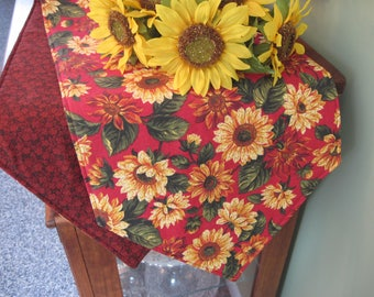 "Sunflower 54"" or 72"" Table Runner Reversible Yellow table Runner Yellow and Red Sunflower Table Runner Sunflower table decor Red Table Decor"
