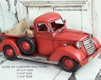 July 4th Old Fashioned Red Truck Centerpiece / Large Metal Truck / American Home Decor, Birthday, READY TO SHIP