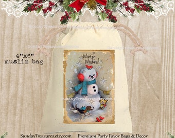 Vintage Snowman Puppy Birds Muslin Gift Bag  / 4x6 / Rustic Red Blue / CHRISTMAS Gift Card Holder / Hot Cocoa Packet Holder / QTY DISCOUNT